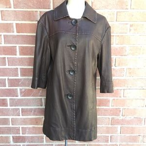Vince Brown Leather Short Trench Coat